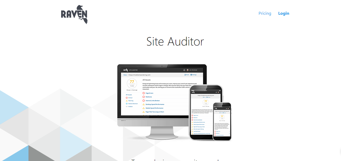 Raven - for SEO Website Audit