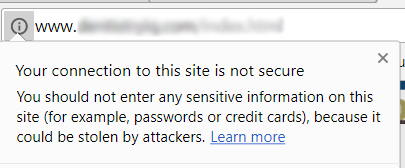 Google Chrome - Not Secure Warning