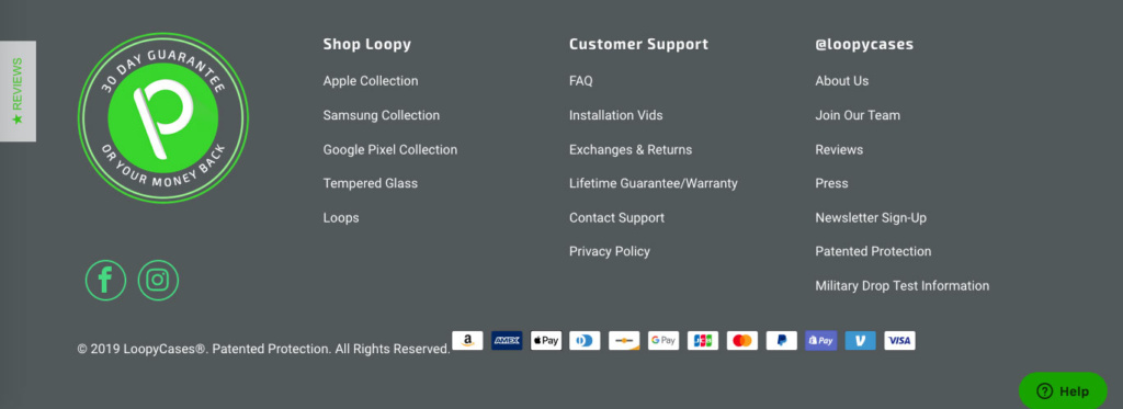 Return policy located on website's footer